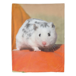 Cute Syrian Hamster White Black Spotted Funny Pet Duvet Cover