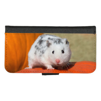 Cute Syrian Hamster White Black Spotted Funny Pet iPhone 8/7 Wallet Case