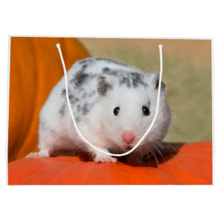 Cute Syrian Hamster White Black Spotted Funny Pet Large Gift Bag