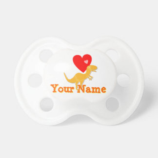 Cute T-Rex Dinosaur Hearts customizable name Pacifier