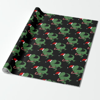 Cute T-rex Dinosaur in Santa Hat Christmas Art Wrapping Paper
