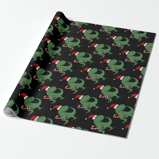 Funny Dinosaur Christmas Wrapping Paper For Kids