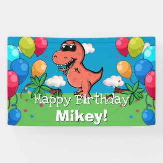 Cute T-Rex Dinosaur Kids Birthday Cartoon Jurassic Banner