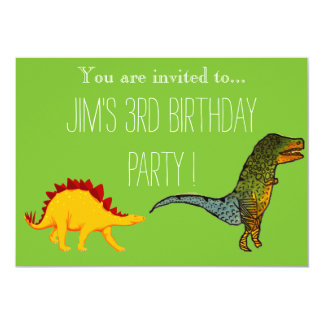Cute T-Rex dinosaur young boy's birthday party Card