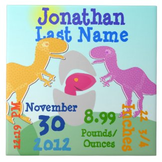 Cute T-Rex Dinosaurs Newborn Egg Boy Birth Ceramic Tile