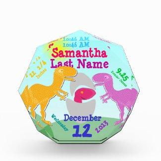 Cute T-Rex Dinosaurs Newborn Egg Girl Birth Stone Awards