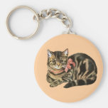 Cute Tabby Calico Cat / Kitten Keychain