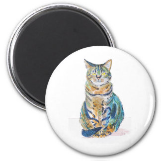 Cute Tabby Cat 2 Inch Round Magnet