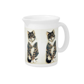 Cute Tabby Cat Art Drink Pitcher