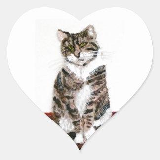 Cute Tabby Cat Art Heart Sticker