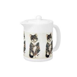 Cute Tabby Cat Art Teapot