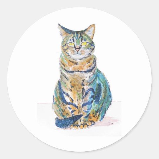 Cute Tabby Cat Classic Round Sticker