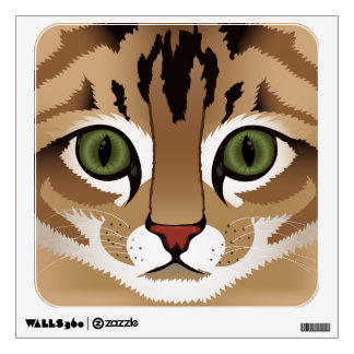 Cute tabby cat face close up illustration wall sticker