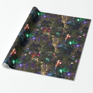 Cute Tabby Cat in Christmas Tree Wrapping Paper