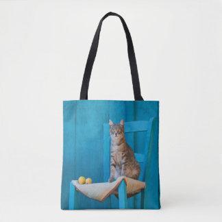 Cute Tabby Cat Kitten on Blue Chair Photo  Shopper Tote Bag