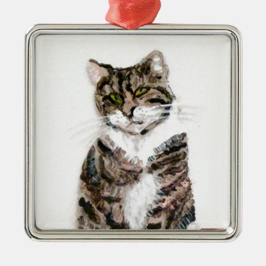 Cute Tabby Cat Pet Portrait Metal Ornament