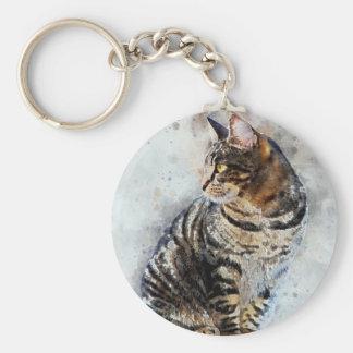 Cute Tabby Cat Watercolor Art Keychain