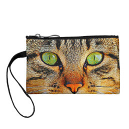 Cute Tabby Cat with Green Eyes Change Purse