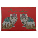 cute tabby grey kitten and Christmas pudding cat Placemats
