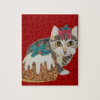 cute tabby kitten and Christmas pudding cat jigsaw Puzzle