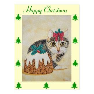cute tabby kitten and Christmas pudding cat Postcard