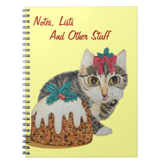 cute tabby kitten and Christmas pudding cat Spiral Notebook