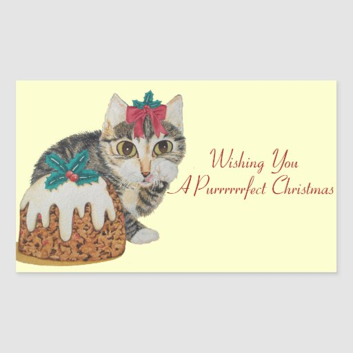 cute tabby kitten and greeting & Christmas pudding Rectangular Stickers
