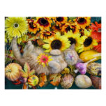 Cute Tabby Kitty Cat, Colorful Vegetable Harvest Print