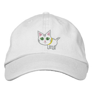 Cute Tabby Kitty Cat Hat / Cap Embroidered Hats