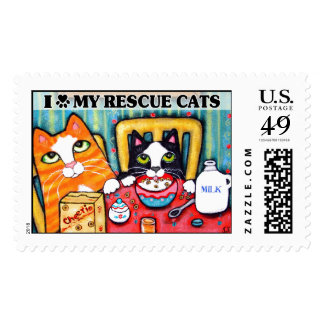 Cute Tabby & Tux Cat Postage Stamp