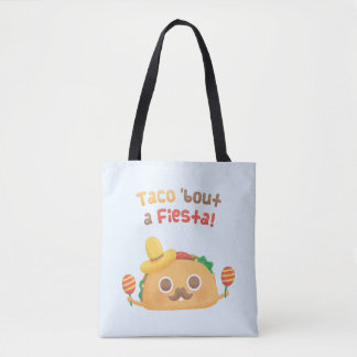 Cute Taco Bout A Fiesta Pun Humor Tote Bag
