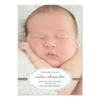 Cute Tag Birth Announcement - Brown