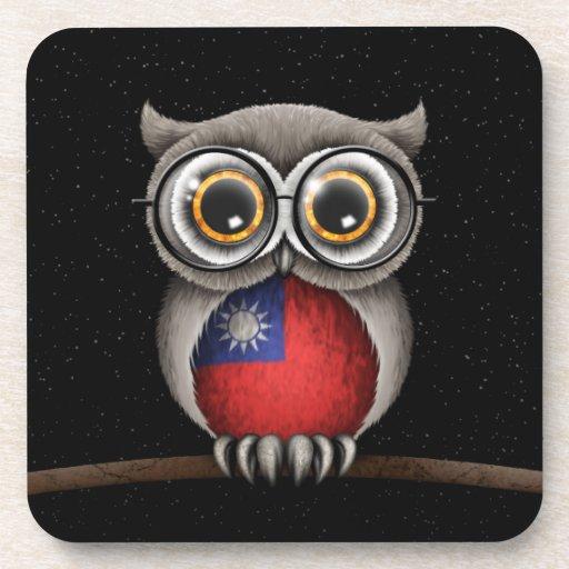 Cute Taiwanese Flag Owl Wearing Glasses Beverage Coasters