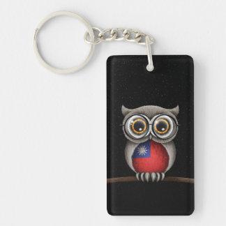 Cute Taiwanese Flag Owl Wearing Glasses Double-Sided Rectangular Acrylic Keychain
