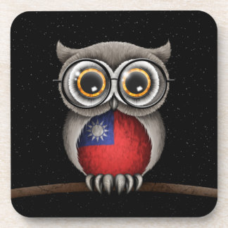 Cute Taiwanese Flag Owl Wearing Glasses Drink Coaster