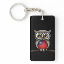 Cute Taiwanese Flag Owl Wearing Glasses Keychain