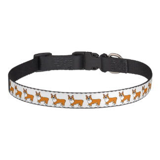 Cute Tan and White Cartoon Corgi Pet Collar