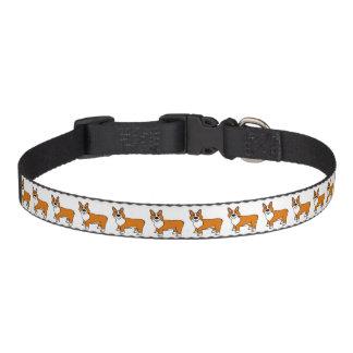 Cute Tan and White Cartoon Corgi Pet Collar