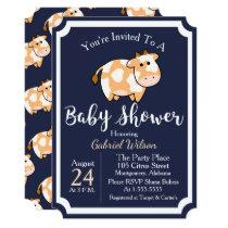 Cute Tan Baby Cow Calf & Dark Blue Baby Shower Invitation