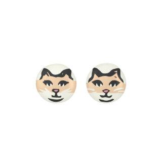 CUTE TAN & WHITE CAT EARRINGS