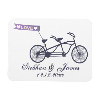Cute Tandem Bike and Love Banner Wedding Rectangular Photo Magnet