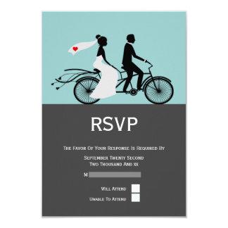Cute Tandem Bike Bride And Groom RSVP Wedding Card
