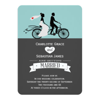 Cute Tandem Bike Bride And Groom Wedding Card