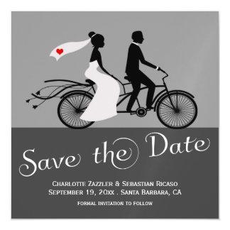 Cute Tandem Bike Bride And Groom Wedding Magnetic Invitations