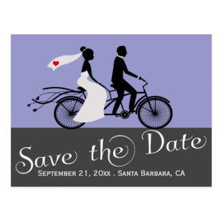 Cute Tandem Bike Bride And Groom Wedding Postcard