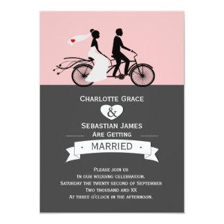 Cute Tandem Bike Bride And Groom Wedding V2 5x7 Paper Invitation Card
