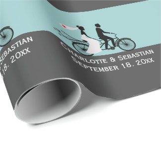 Cute Tandem Bike Bride And Groom Wedding Wrapping Paper