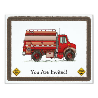 Cute Tank Truck 4.25x5.5 Paper Invitation Card