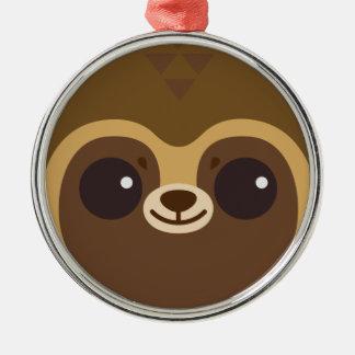 Cute Tanuki (Raccoon Dog) Face Metal Ornament