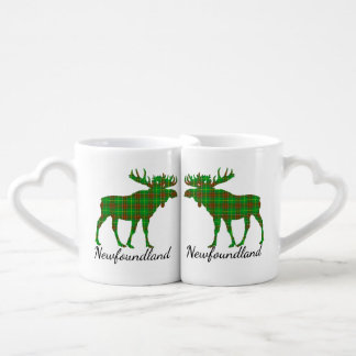 Cute Tartan moose Newfoundland kissing lovers mug